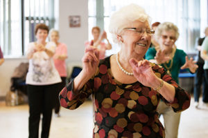 elderly women dancing